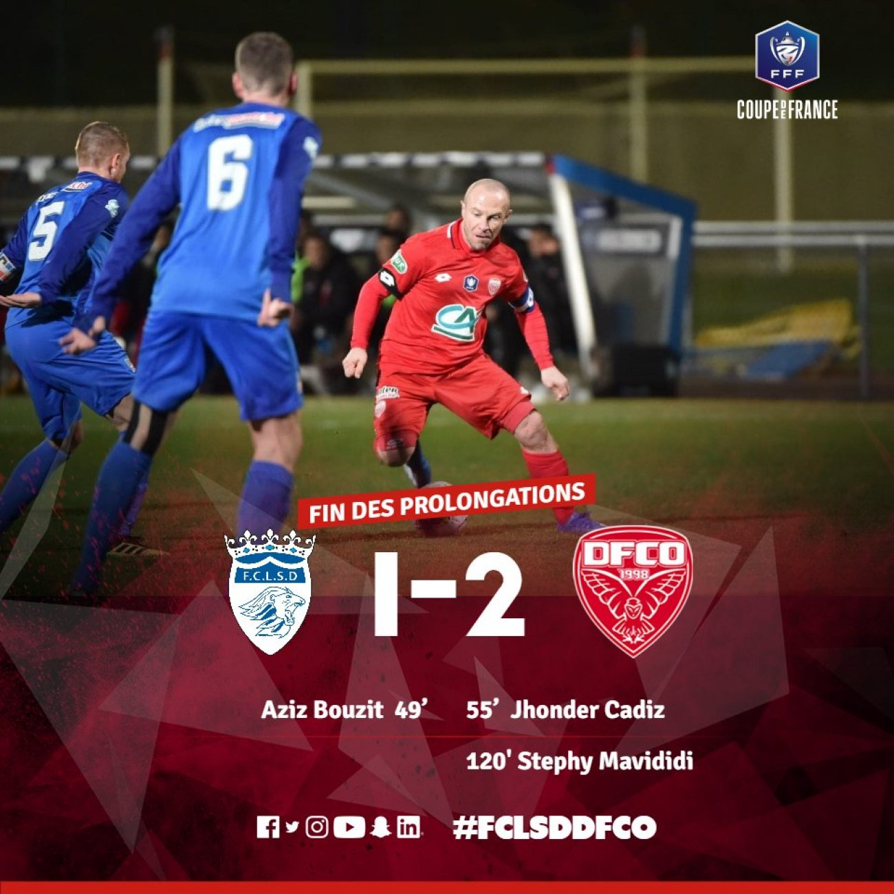 Football le dfco tient sa place en quarts de finale de - Quarts de finale coupe de france ...